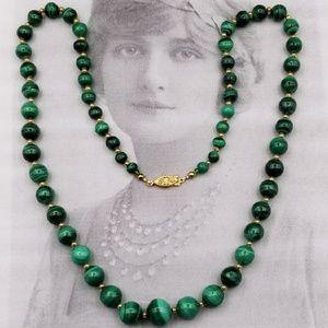 Vintage Malachite and 14k beaded necklace